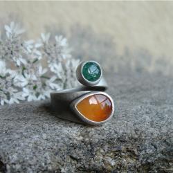 letni pierścionek,pomarańczowy,zielony - Pierścionki - Biżuteria