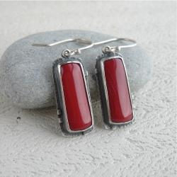 koralowe kolczyki,czerwone,czerwień - Kolczyki - Biżuteria