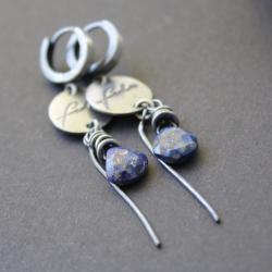 kolczyki,fado,lapis lazuli,oksydowane - Kolczyki - Biżuteria