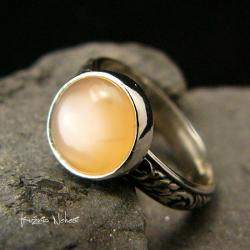 Nehesi,Pierścień,Ze Srebra,obączka,moonstone - Pierścionki - Biżuteria