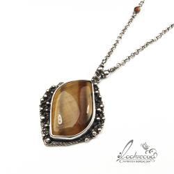 okazały naszyjnik,wisior srebrny,retro,vintage - Naszyjniki - Biżuteria