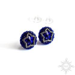 drobne,okrągłe,niebieskie,gwiazda,gwiazdy,kryształ - Kolczyki - Biżuteria