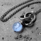 Naszyjniki niebieski,z kamieniem,chalcedon,srebrny