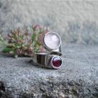 Pierścionki kwarc różowy,granat