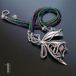 naszyjnik srebrny,granat,agat,wire wrapping, - Naszyjniki - Biżuteria