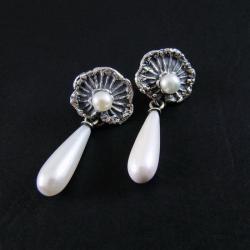 kolczyki z perłami,eleganckie,delikatne,liście - Kolczyki - Biżuteria