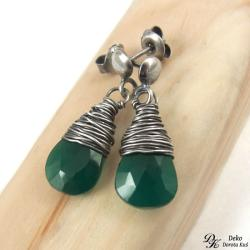 kolczyki,onyks,zielony,otulony,srebro,wirework - Kolczyki - Biżuteria