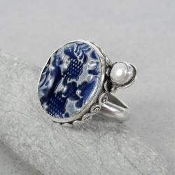 duży,okazały,z perłą,okrągły,ceramika - Pierścionki - Biżuteria