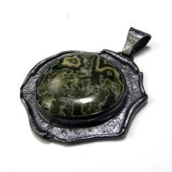 jaspis,srebrny,okazały,srebro,szarości,zieleń, - Wisiory - Biżuteria