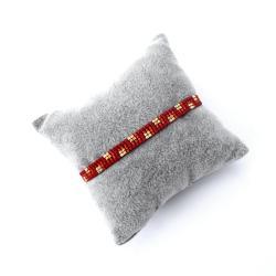 czerwona,cienka,pleciona,bransoletka - Bransoletki - Biżuteria