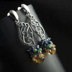 wire-wrapping,szafiry,smaragdy,kolczyki,piękne - Kolczyki - Biżuteria