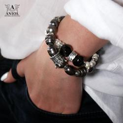 komplet bransolet z pereł,biżuteria damska - Bransoletki - Biżuteria