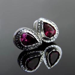 kolczyki,rodolit,srebro,sztyfty - Kolczyki - Biżuteria