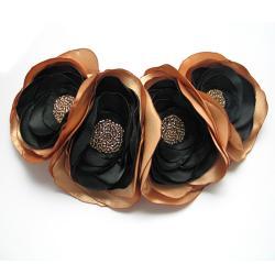 broszka,satyna,kwiaty,elegancka,romantyczna - Broszki - Biżuteria