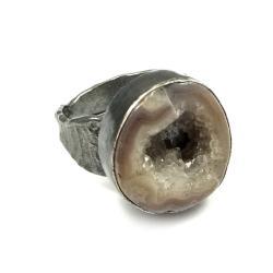 srebrny,agat,kryształki,srebro, - Pierścionki - Biżuteria