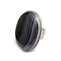 agat,czarny,elegancki,pierścień,retro,geoda,agat - Pierścionki - Biżuteria