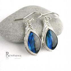 niebieskie,labradoryt,smukłe - Kolczyki - Biżuteria