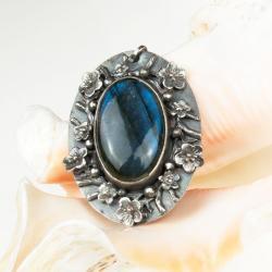 wisior,srebrny,labradoryt,romantyczny - Wisiory - Biżuteria