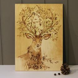 jeleń,pirografia,las,wypalanie - Ilustracje, rysunki, fotografia - Wyposażenie wnętrz