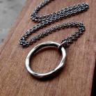 Naszyjniki okrągły,młotkowany,oksydowany,nowoczesny,srebrny