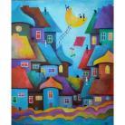 Obrazy miasteczko,koty,domki,latawiec