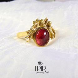Pierścionek pozłacany z turmalinem - Pierścionki - Biżuteria