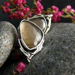 srebro,kwarc dymny,kolczyki,sztyfty - Kolczyki - Biżuteria