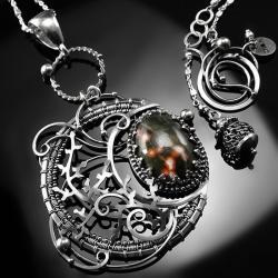 srebrny,naszyjnik,wire-wrapping,jaspis,oceaniczny - Naszyjniki - Biżuteria