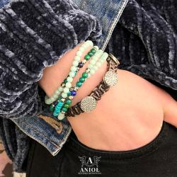 komplet bransolet,koraliki,biżuteria skórzana - Bransoletki - Biżuteria