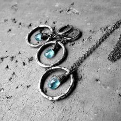 błekitny,niebieski,z apatytami,srebro oksydowane - Komplety - Biżuteria