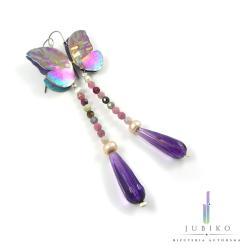 tytan,długie kolczyki,ręcznie wykonane,motyle, - Kolczyki - Biżuteria