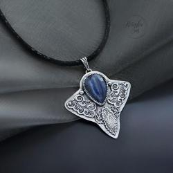 srebrny,naszyjnik,z kianitem - Naszyjniki - Biżuteria