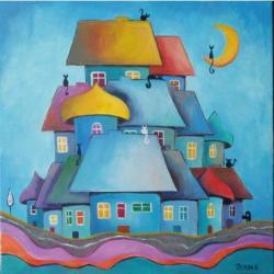 miasteczko,koty,domki,abstrakcja - Obrazy - Wyposażenie wnętrz