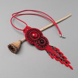 naszyjnik,czerwony,haft,z frędzlami,jaskrawy - Naszyjniki - Biżuteria