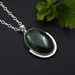 nowoczesny,zielony,srebrny,naszyjnik,nefryt - Naszyjniki - Biżuteria