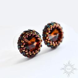 brązowe,okrągłe,małe,wkrętki,swarovski,kryształy - Kolczyki - Biżuteria