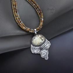 srebrny,naszyjnik,z bursztynem,z opalem - Naszyjniki - Biżuteria