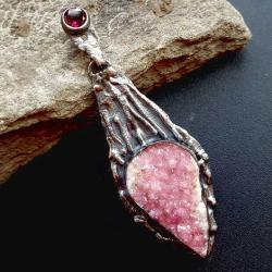 rubin,rodolit,srebrny,srebro,mineralny,długi, - Wisiory - Biżuteria