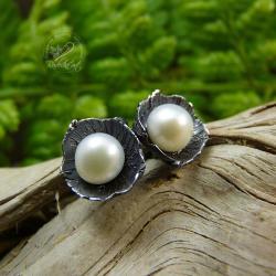 srebrne,perłowe,romantyczne,eleganckie,sztyfty - Kolczyki - Biżuteria