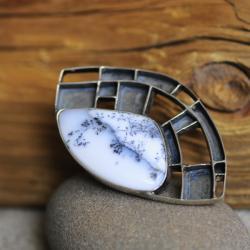 pierścionek,agat,ażur,srebro,krata,oksyda - Pierścionki - Biżuteria