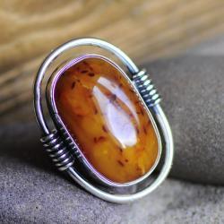 bursztyn,srebro,nowoczesny,pierścionek - Pierścionki - Biżuteria