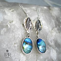 Kolczyki srebrne z labradorytami - Kolczyki - Biżuteria