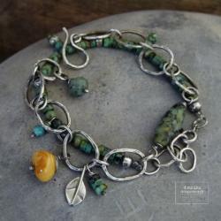 srebro,boho,turkus,hippie,bursztyn,liść,oksydowana - Bransoletki - Biżuteria