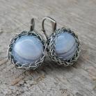 Kolczyki koronkowe koszyczki,agat blue lace,srebro,iwogg