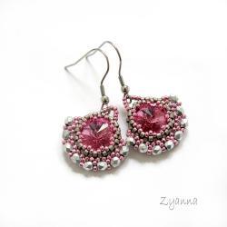 Swarovski,rivoli,różowe,delikatne,dziewczęce - Kolczyki - Biżuteria