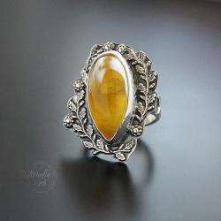 srebrny,pierścionek,z bursztynem,okazały - Pierścionki - Biżuteria