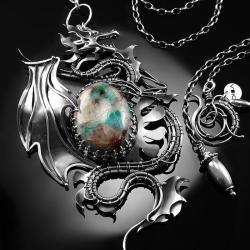 srebrny,naszyjnik,smok,wire-wrapping,amazonit,ciba - Naszyjniki - Biżuteria