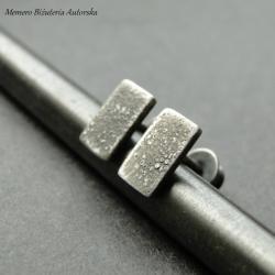 srebro,sztyfty,prostokąty - Kolczyki - Biżuteria