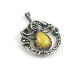 wisior,wisiorek,bursztyn,żółty,elegancki,misterny - Wisiory - Biżuteria