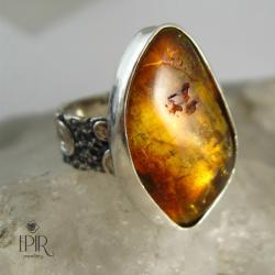 Pierścionek srebrny z burszynem - Pierścionki - Biżuteria